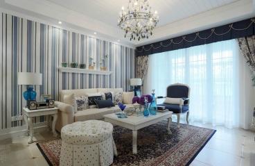 麟恒中心广场-现代简约地中海风格-90m²三居室